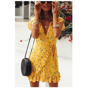 {boutique} yellow floral wrap style summer dress